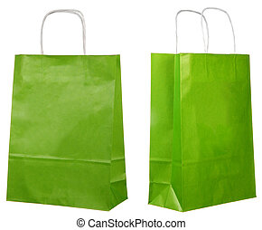 two views of a green paper bags isolated on white