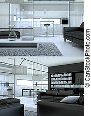 Two views of black and white modern interior loft design
