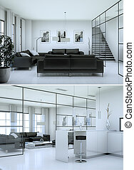 Two views of black and white modern interior loft design
