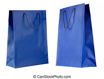 two views of blue paper bag isolated on white