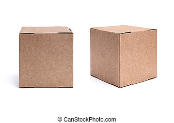 Two views of craft carton boxes isolated on white