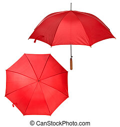 two views of large red umbrella isolated on white