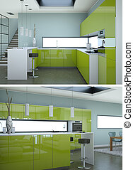 Two views of modern green kitchen Interior design