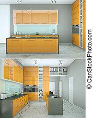 Two views of modern yellow kitchen Interior design