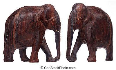 two views of wooden elephant statue isolated on white