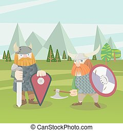 Two viking warriors vector flat style illustration - Two...