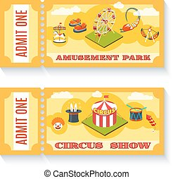 Two vintage amusement park tickets set - Two vintage...