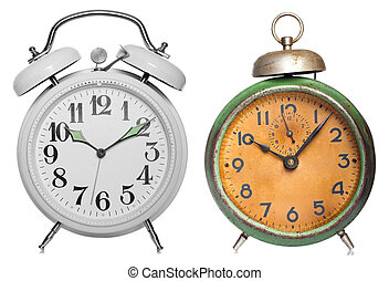 Two vintage clock isolated on white