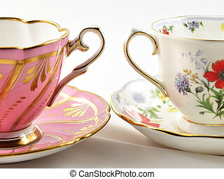 vintage coffee cups - two vintage coffee cups , close up...