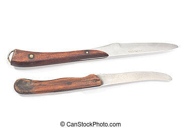 Two vintage kitchen knifes isolated on white