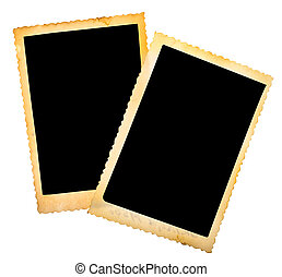 two vintage photo frame isolated on white