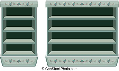 Two vintage racks with empty shelfes. Vector illustration
