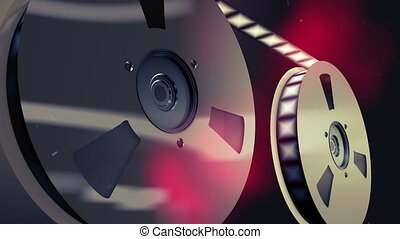 """Two vintage reels placed askew with tape"" - ""A splendid 3d..."
