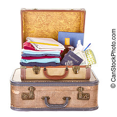 two vintage suitcases packed and open showing contents isolated on white