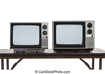 Two Vintage Televisons Isolated on White