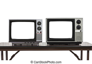 Two Vintage Televisons Isolated on White with Cut Out Screens