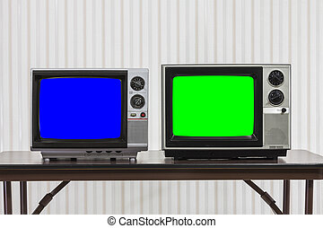 Two Vintage Televisons with Chroma Key Blue and Green Screens