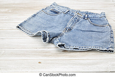 two vintage woman Jeans denim shorts