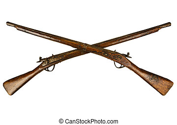 Two vintage wooden rifles isolated on white