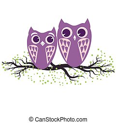 Two violet owls sitting on the tree branch