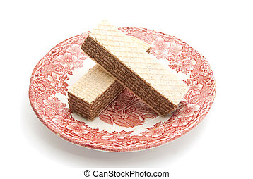 two wafers on a plate