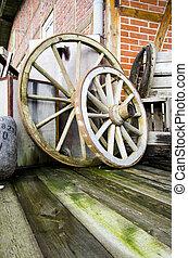 Two wagon wheels
