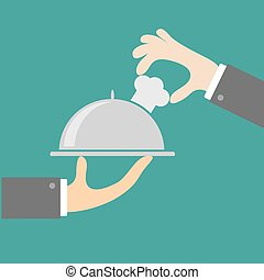 Two waiter hands with silver platter cloche and chefs hat. Menu cover. Flat design.