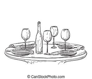 two., wares., romantique, main, dîner, dessiné
