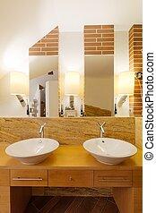 Two washbasins in elegant bathroom