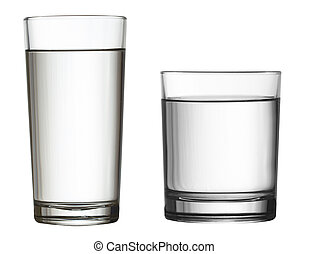 two water glasses isolated on white clipping path included