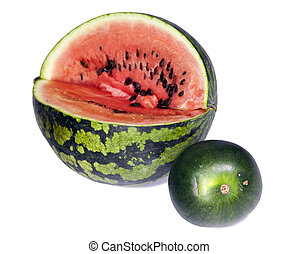 Two water-melons of various grades