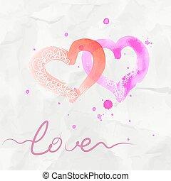 Two watercolor heart