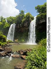 Two Waterfalls at the Iguazu Falls - Two waterfalls at the...