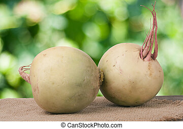 Two watermelon radish on a wooden table with blurred garden background