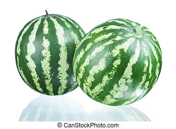 Two Watermelons isolated  on a white background