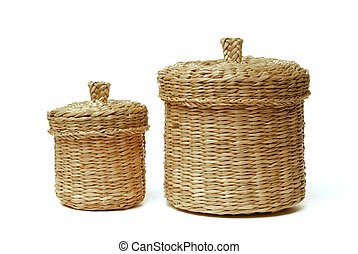 Two wattled baskets isolated on white background