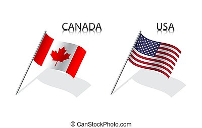 Two waving flag of Canada and United States of America. Simple symbols with flags isolated on a white background. USA
