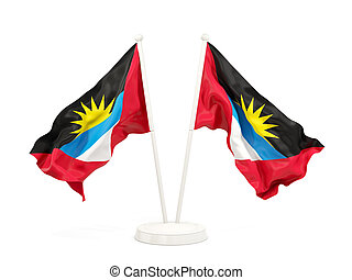 Two waving flags of antigua and barbuda
