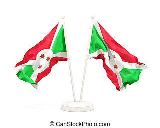 Two waving flags of burundi