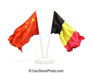 Two waving flags of China and belgium isolated on white