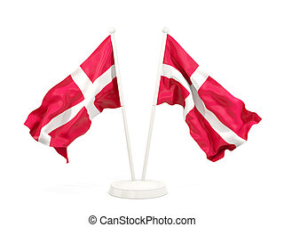 Two waving flags of denmark isolated on white. 3D...