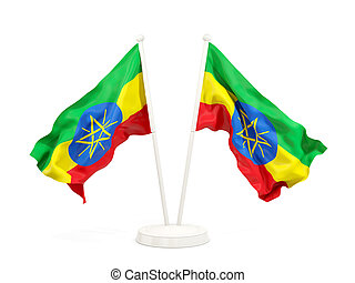 Two waving flags of ethiopia