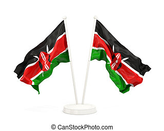 Two waving flags of kenya