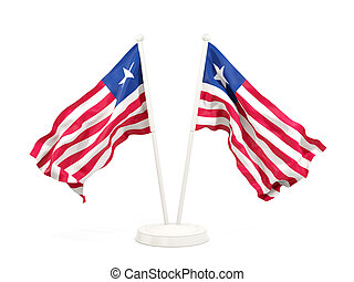 Two waving flags of liberia