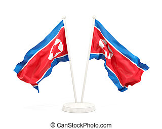 Two waving flags of north korea