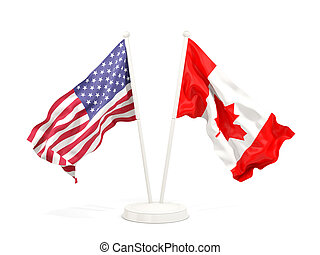 Two waving flags of United States and canada
