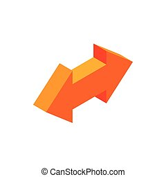 Two way arrow isometric 3d icon