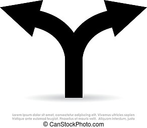 Two way arrow symbol on white background