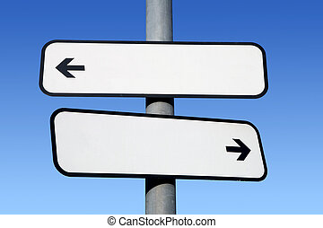 Two way blank signpost with copyspace.