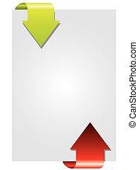 Two way color arrow brochure design on gray
